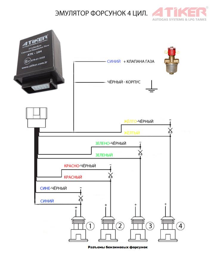 Схема подключения эмулятора форсунок гбо 2 поколения.