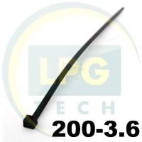 Кабельная стяжка 200х3,6 мм черная