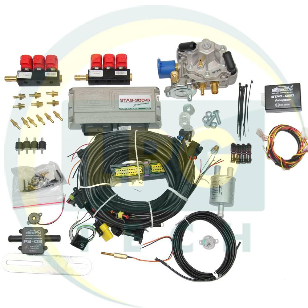 Мини-комплект STAG-300 PREMIUM 6 цилиндров (Редуктор Tomasetto Antartic/Artic, Gurtner Basic/Luxe S, KME Silver/Gold, форсунки Valtek/OMVL)