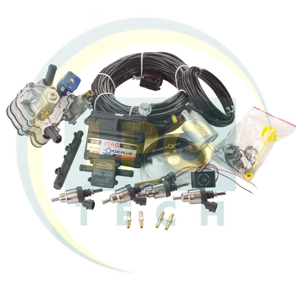 Миникомплект ГБО 4 поколения Stag-4 QBox Plus (Редуктор Tomasetto Alaska, Artic, KME Silver, OMVL, форсунки Hana одиночные)