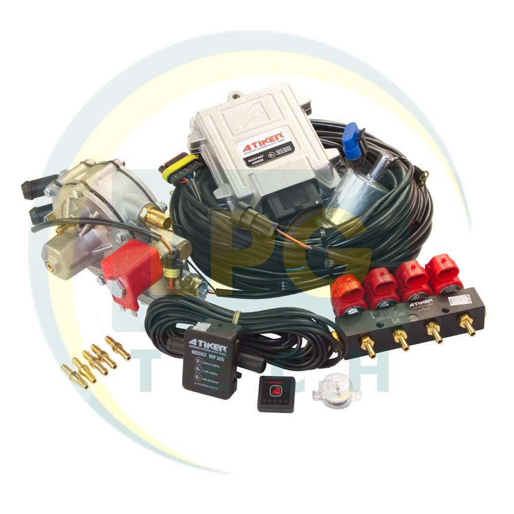 Міні-комплект Atiker Nicefast 4 циліндри (Редуктор SR08 до 110 kW, форсунки Atiker 3 Ом) (K01.MK01.118, K01.MK01.134)