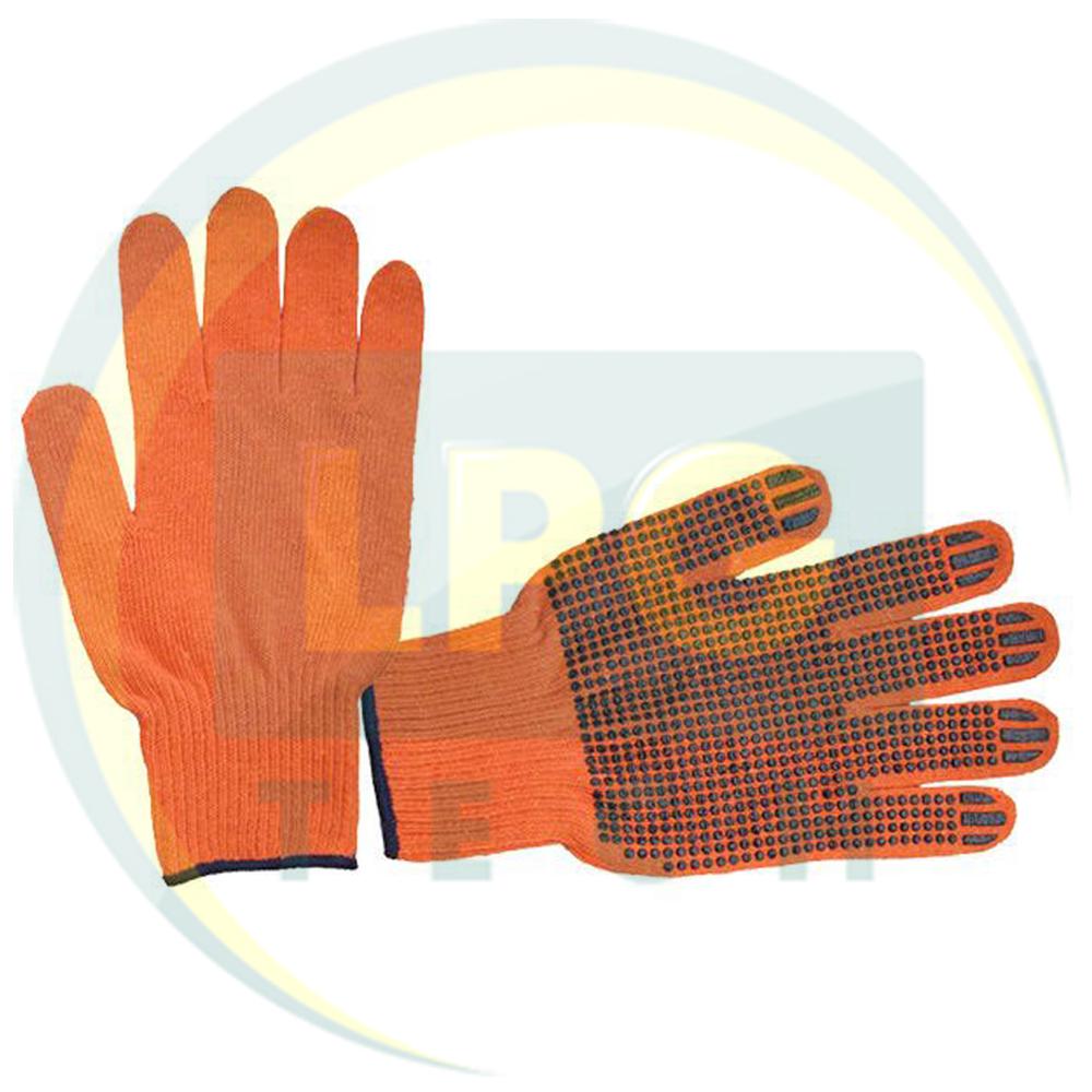 Перчатка трикотажная х/б оранжевая с точечным PVC покрытием на ладони Intertool (SP-0131)