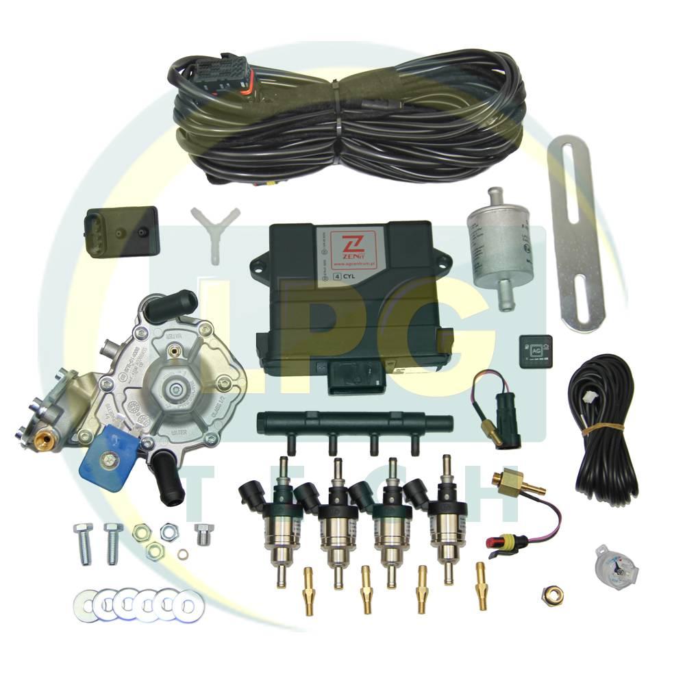 Мини-комплект ГБО 4 поколения Zenit PRO 4 цилиндра (Редуктор Tomasetto Alaska, форсунки Hana Single)