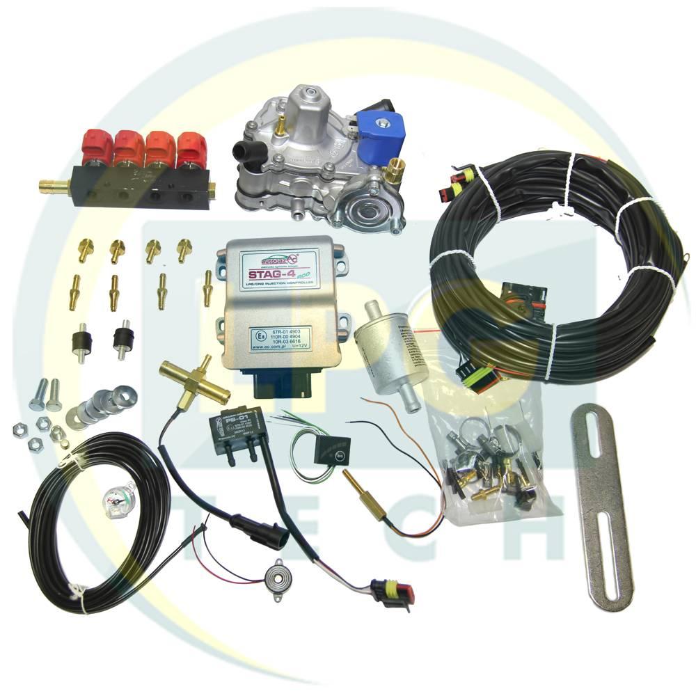 Міні-комплект Stag-4 Eco 4 циліндри (Редуктор Tomasetto Alaska / OMVL CPR, форсунки Valtek / OMVL)