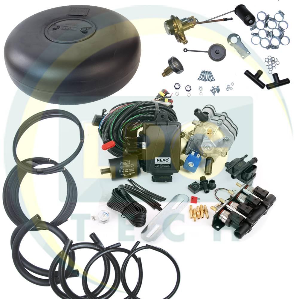 Комплект ГБО 4 покоління KME NEVO з балоном (Редуктор на вибір, форсунки Hana/Barracuda, фільтр, балон, мультиклапан, трубки, рукави)