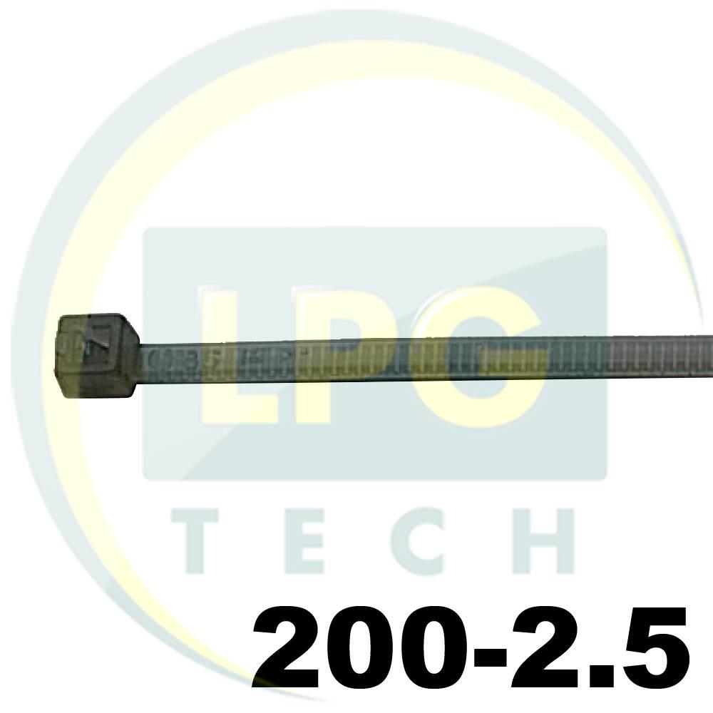 Кабельна стяжка 200х2,5 мм 100 штук (чорна)
