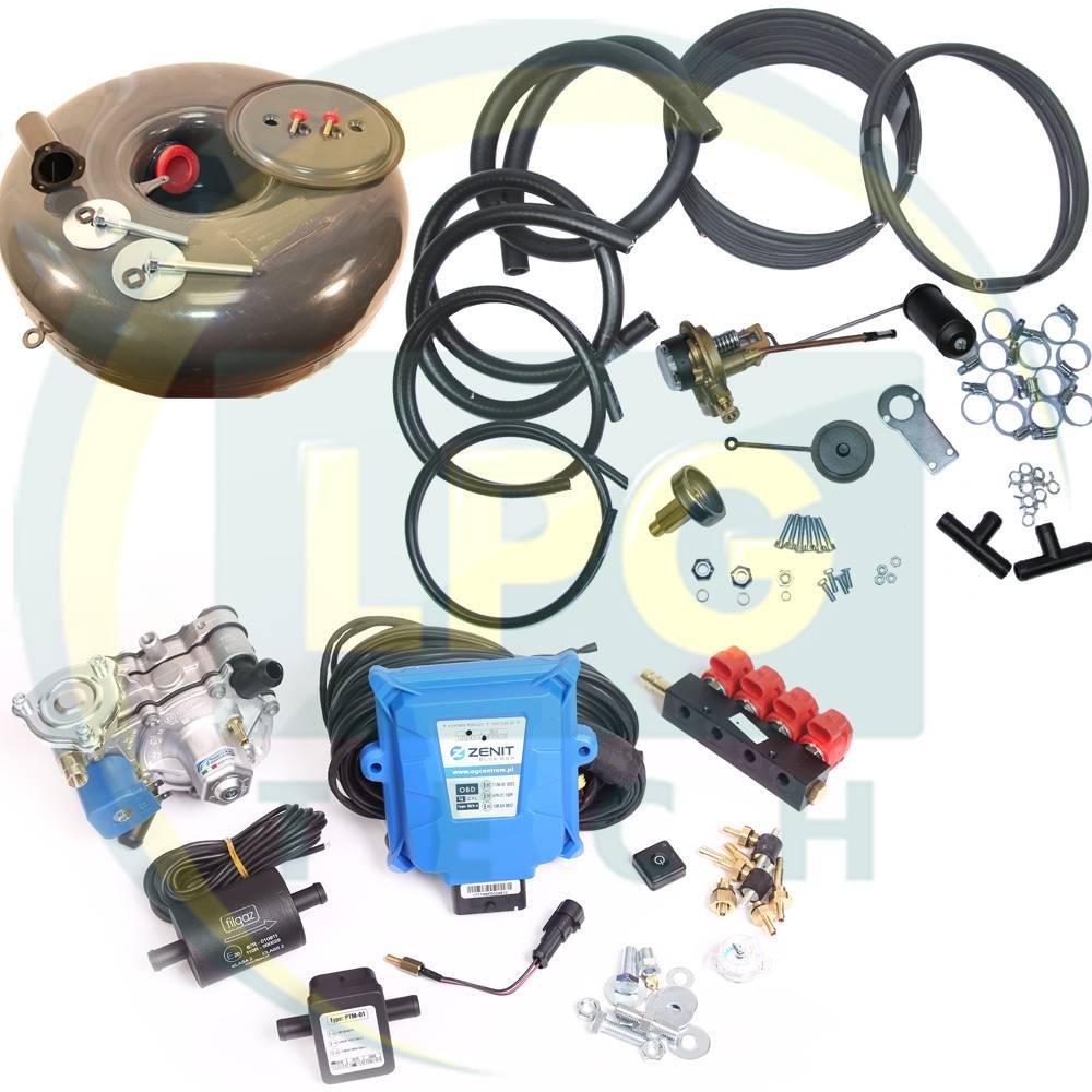 Комплект ГБО 4 покоління Zenit Blue Box/Blue Box OBD з балоном (Редуктор на вибір, форсунки Valtek/OMVL/Tomasetto, фільтр, балон, мультиклапан, трубки, шланги)