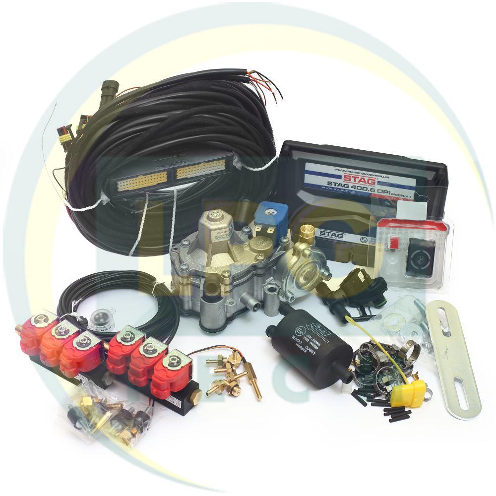 Мінікомплект STAG-400 DPI 6 циліндрів (Редуктор на вибір, форсунки Valtek/OMVL)