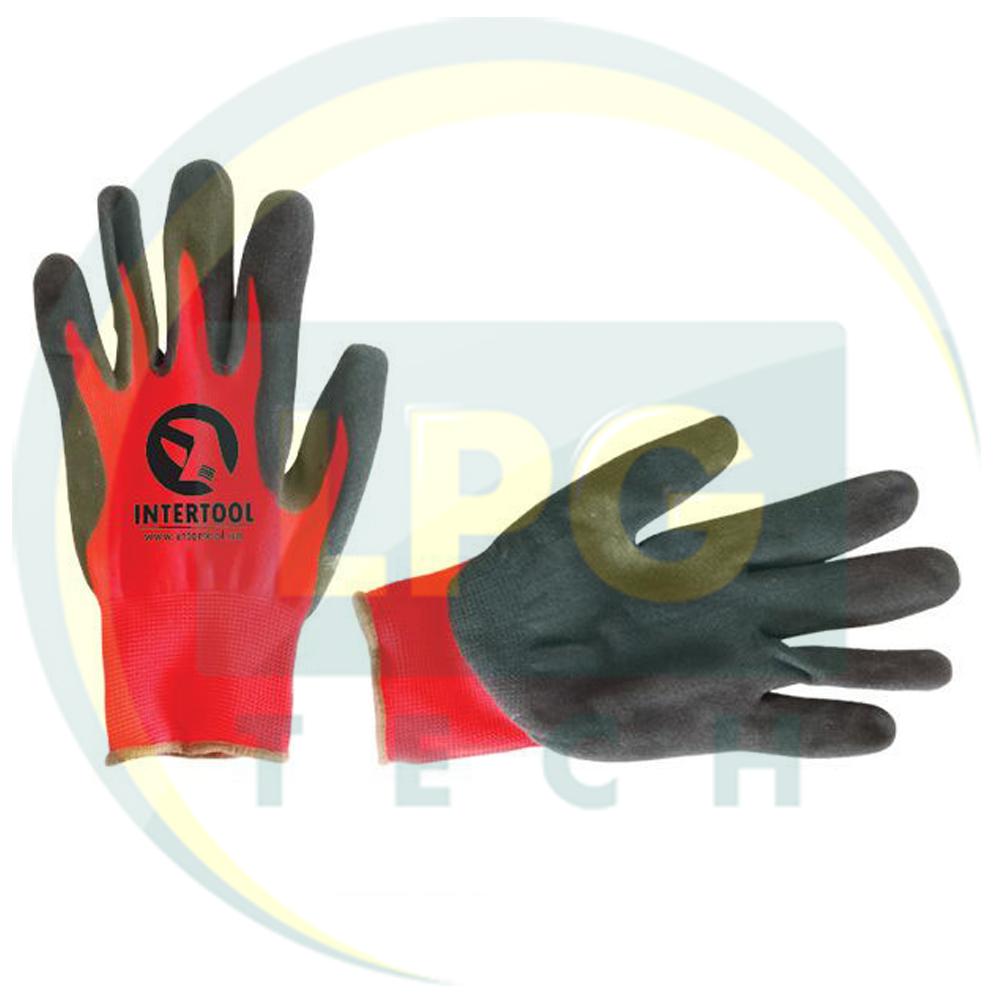 Перчатка синтетическая вязаная красная с серым нитрилом на ладони Inrtertool (SP-0127)