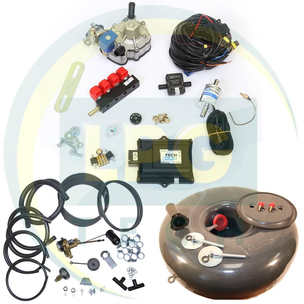 Комплект TECH DUO (Редуктор на вибір, форсунки YETI/Valtek/OMVL/Tomasetto, фільтр, балон, мультиклапан, трубки, шланги)