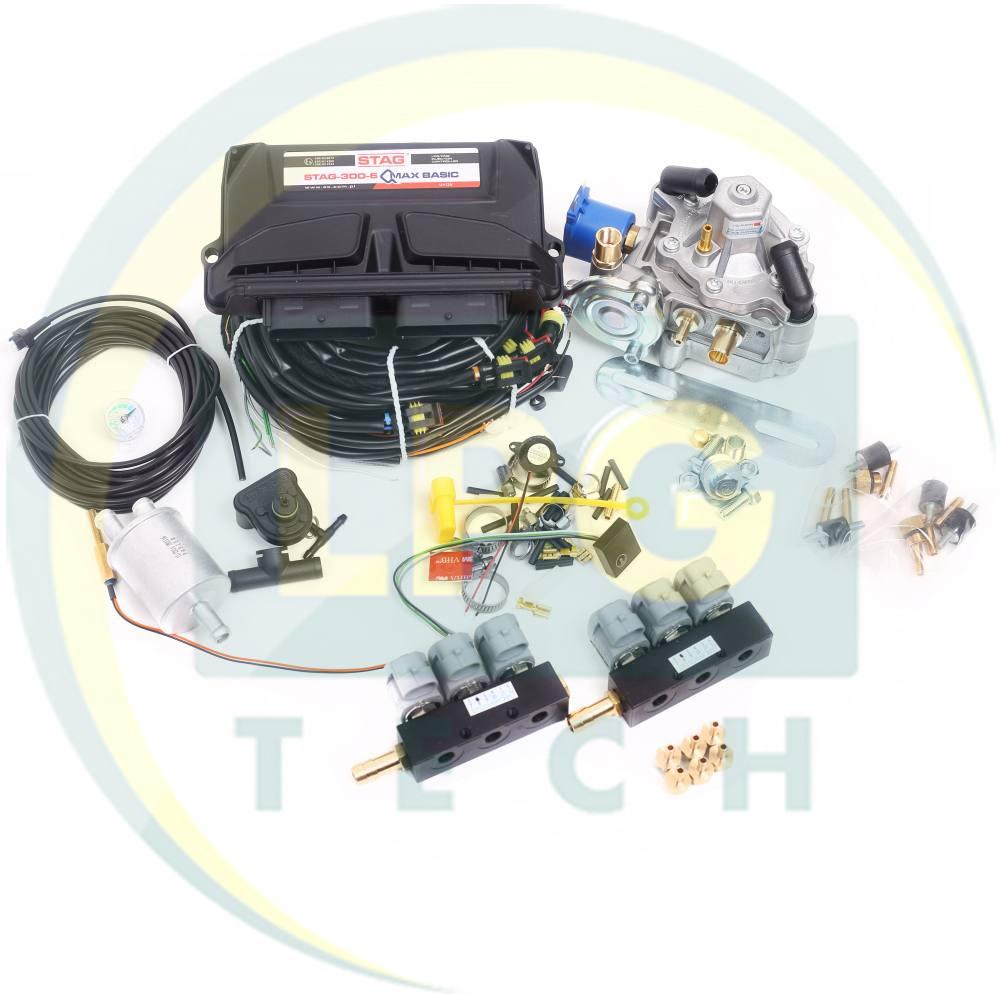 Міні-комплект STAG-300 QMAX BASIC 6 циліндрів (Редуктор на вибір, форсунки Valtek/OMVL)