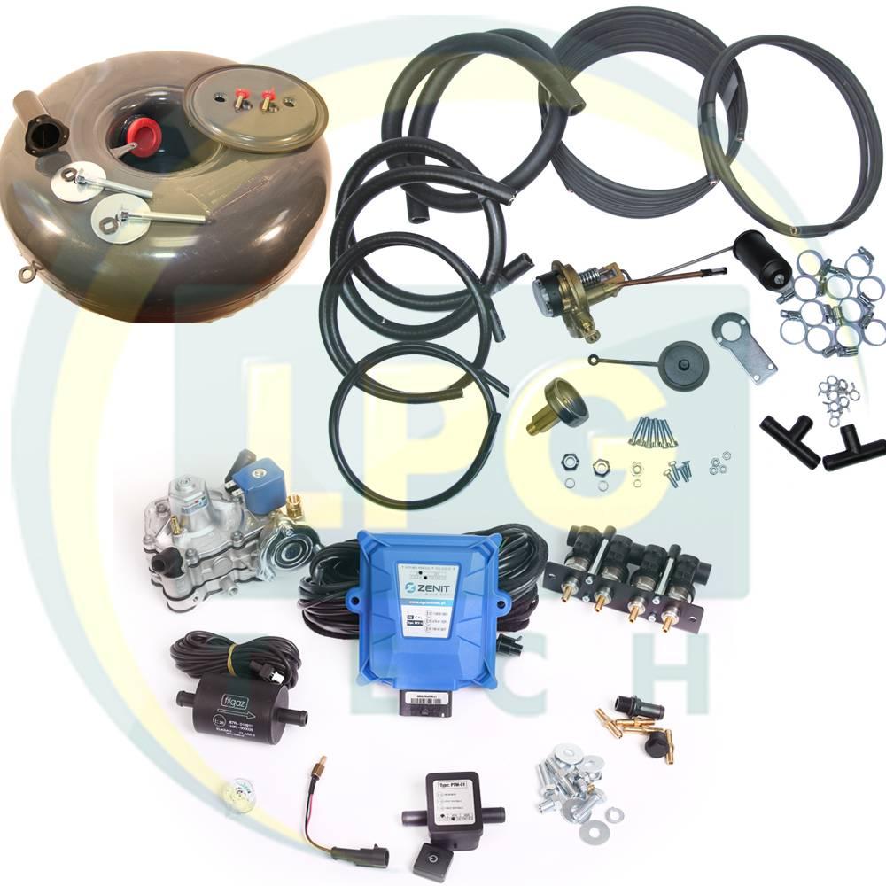 Комплект ГБО 4 покоління Zenit Blue Box/Blue Box OBD 4 циліндри (Редуктор на вибір, форсунки Hana/Barracuda/Magic, фільтр, балон, мультиклапан, трубки, рукави)