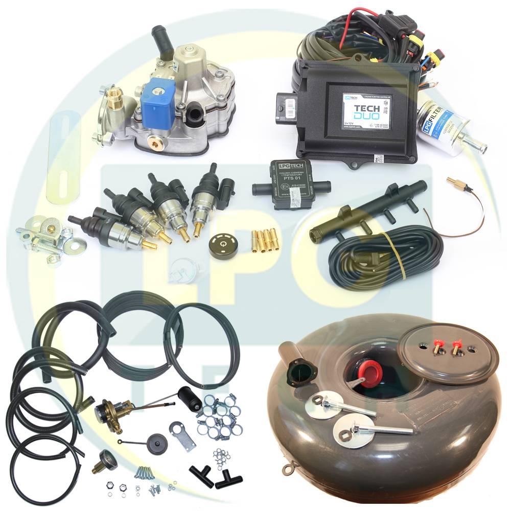 Комплект TECH DUO (Редуктор на вибір, форсунки Hana/Barracuda, балон, мультиклапан, трубки, шланги)