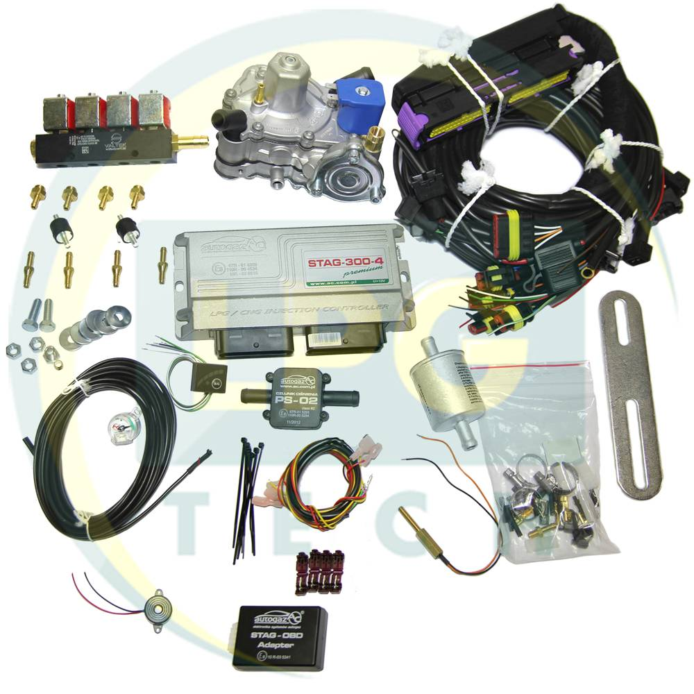 Мини-комплект STAG-300 Premium 4 цилиндра (Редуктор Tomasetto Alaska/Artic/OMVL CPR/Diego Silver, Форсунки Valtek (3, 2 Ом)/OMVL)