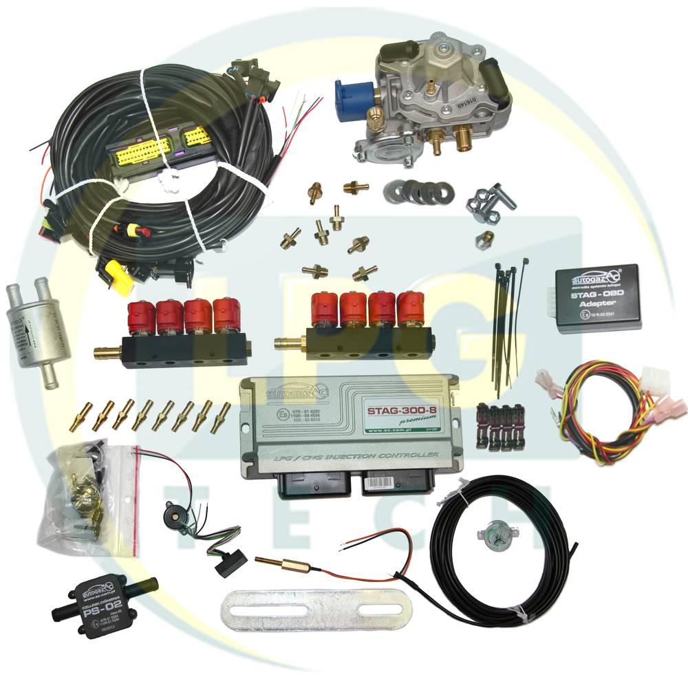 Мини-комплект Stag-300 Premium 8 цилиндров (Редуктор Tomasetto Antartic, Gurtner Luxe S, Diego Gold, Zavoli Zeta S, форсунки Valtek, OMVL)