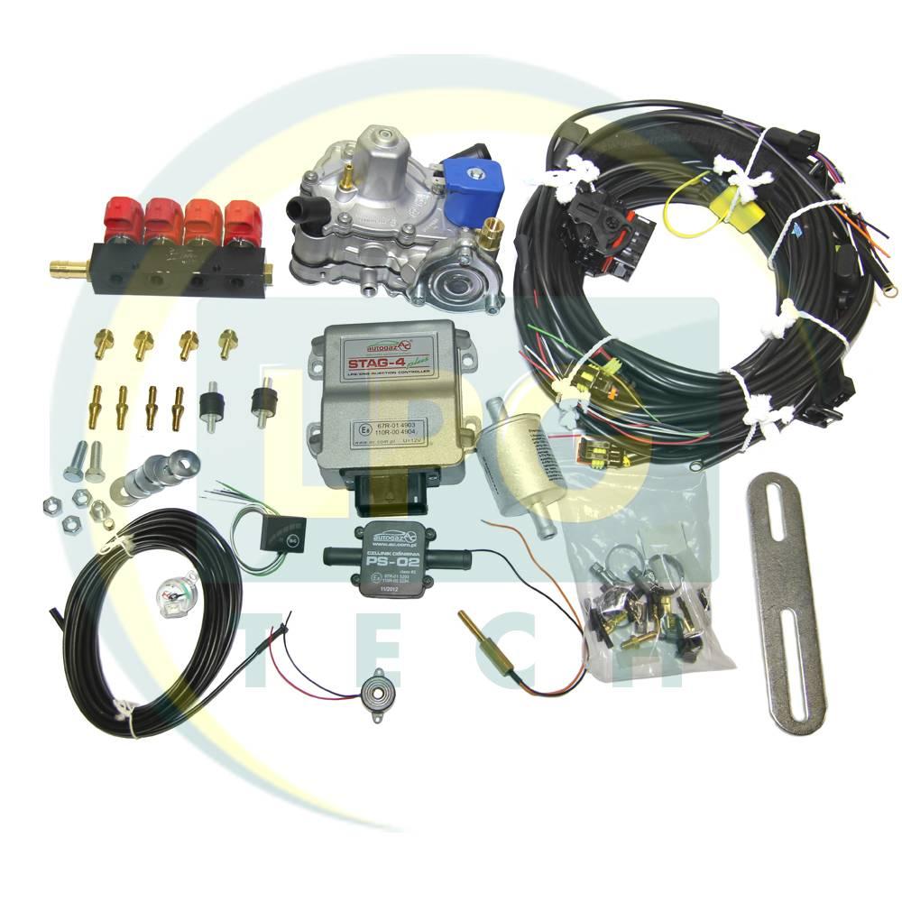 Міні-комплект Stag-4 Plus 4 циліндри (Редуктор на вибір, форсунки Valtek / OMVL / Tomasetto)