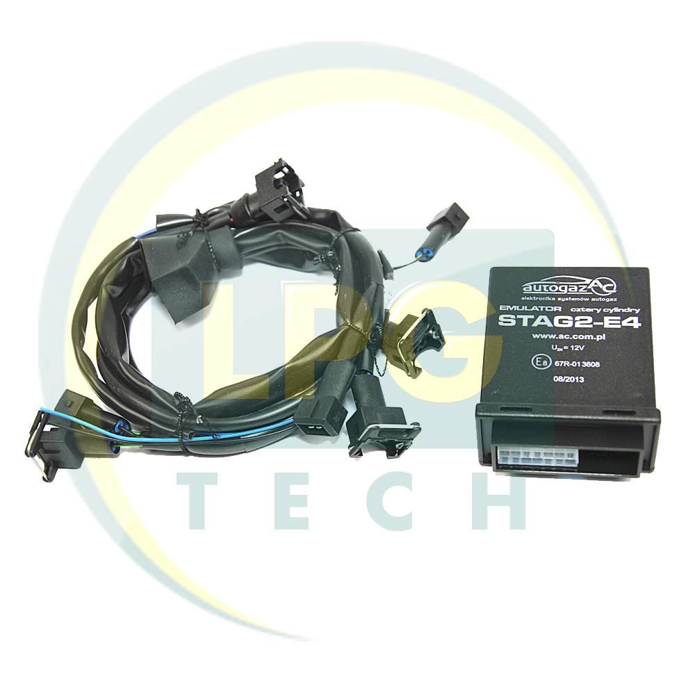 Эмулятор отключения форсунок Stag2E-4 цилиндра с разъемами Europa/Bosch